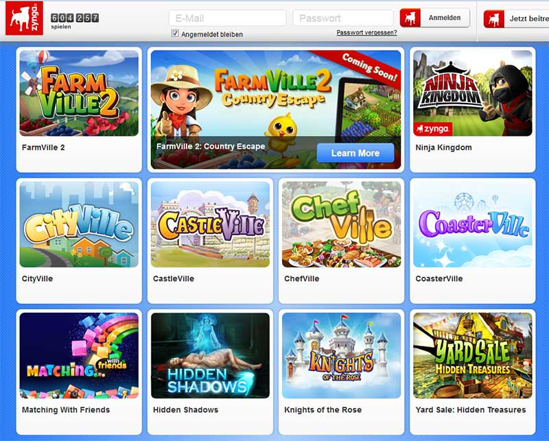 Screenshot der Zynga-Website