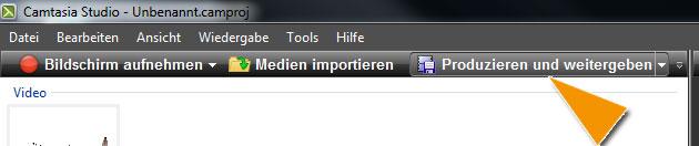 """Über dem Clip-Auswahl-Fenster findest Du den Button """"Produzieren und weitergeben"""""""