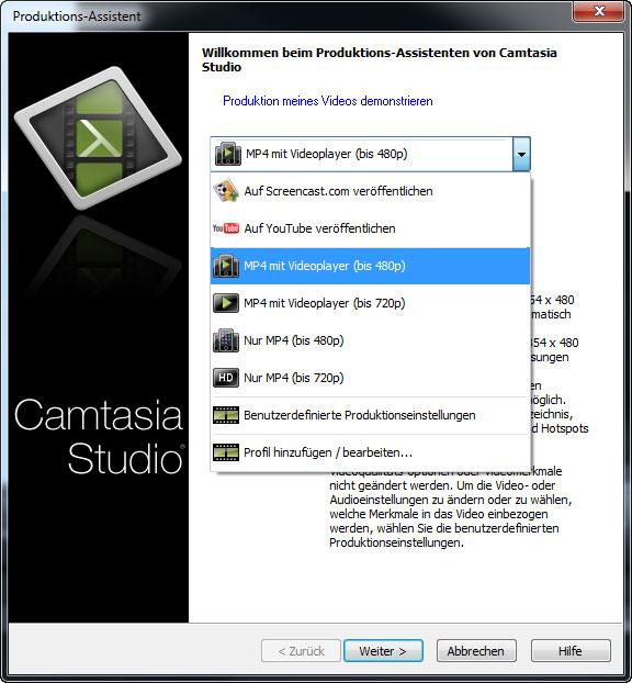Die Optionen zur Videoproduktion im Camtasia Produktions-Assistent