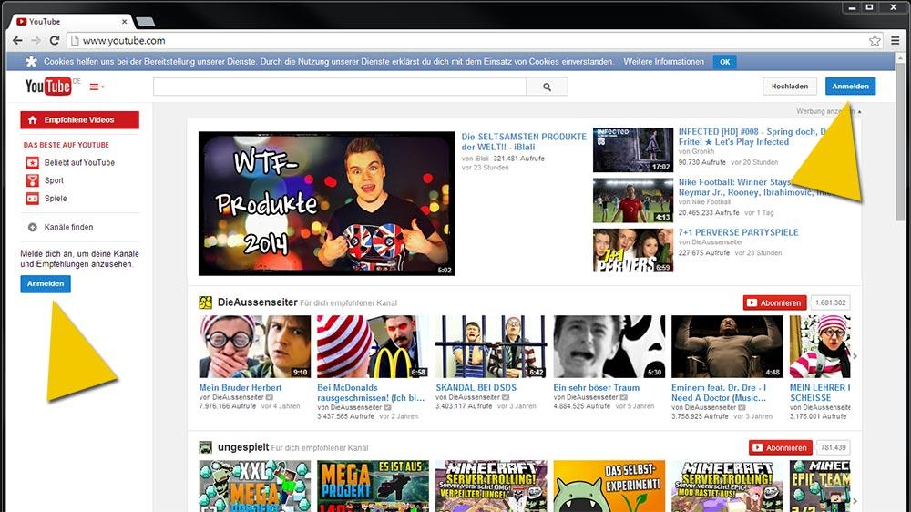 Auf YouTube anmelden