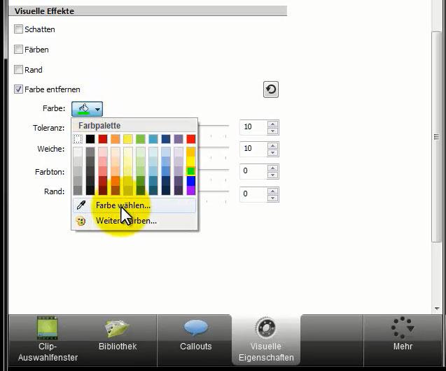 Die Farbe mit der Pipette wählen