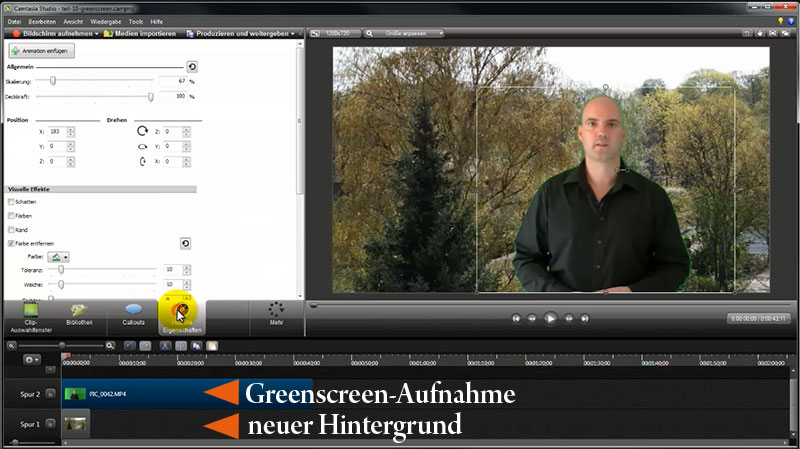 Der neue Hintergrund muss unterhalb des Greenscreen-Videos liegen
