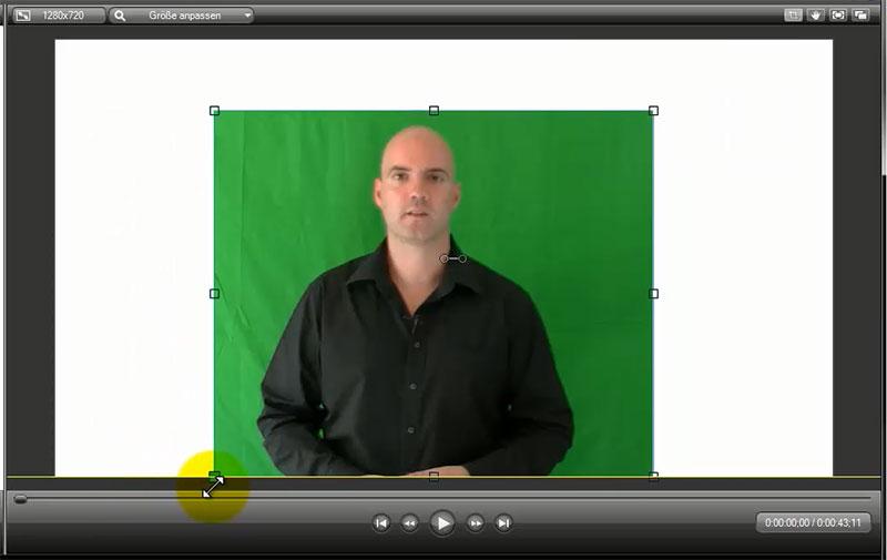 Zuerst wenn nötig das Greenscreen-Video beschneiden