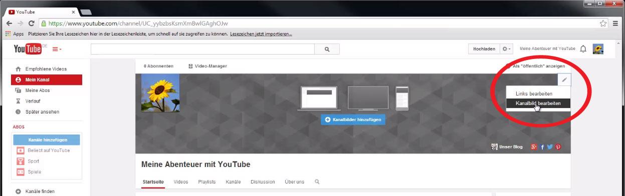 Das Kanalbild deines YouTube-Kanals bearbeiten