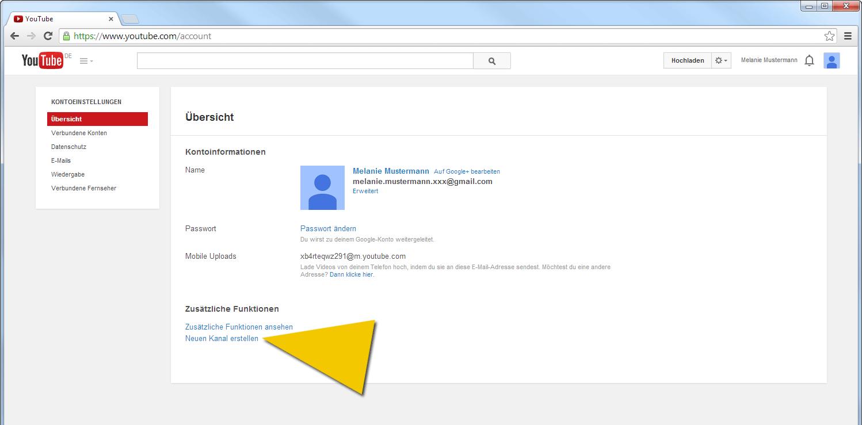 Einen neuen YouTube-Kanal erstellen