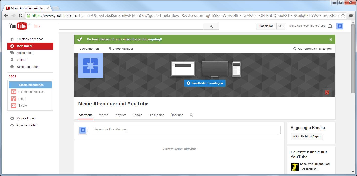 Der neuer YouTube-Kanal ist erstellt