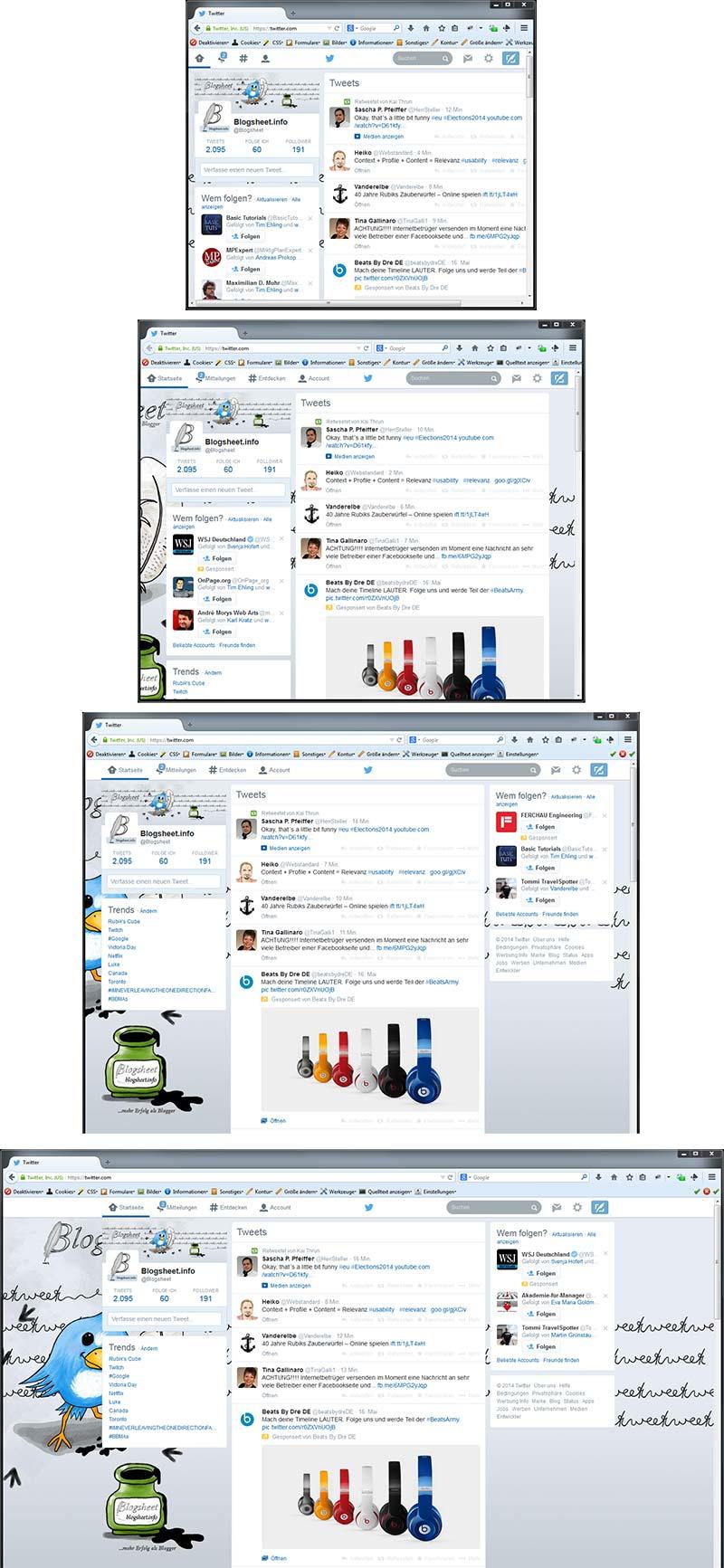 Der Twitter-Hintergrund in verschiedenen Monitorauflösungen