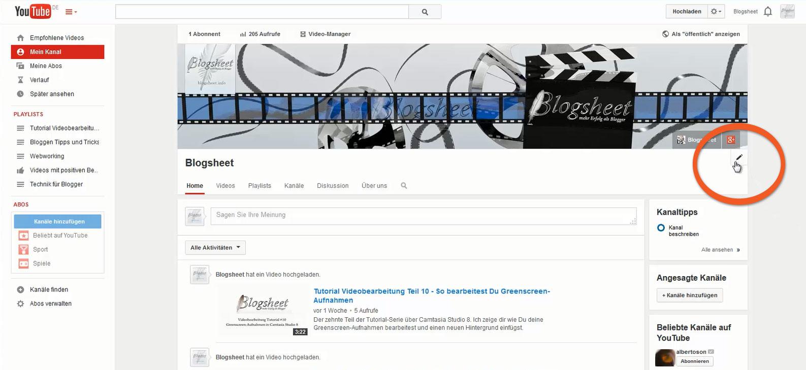 Die Kanalübersicht für den Kanal-Trailer aktivieren