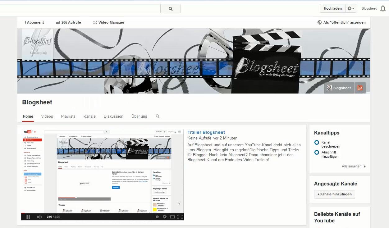 Trailer für deinen YouTube-Kanal