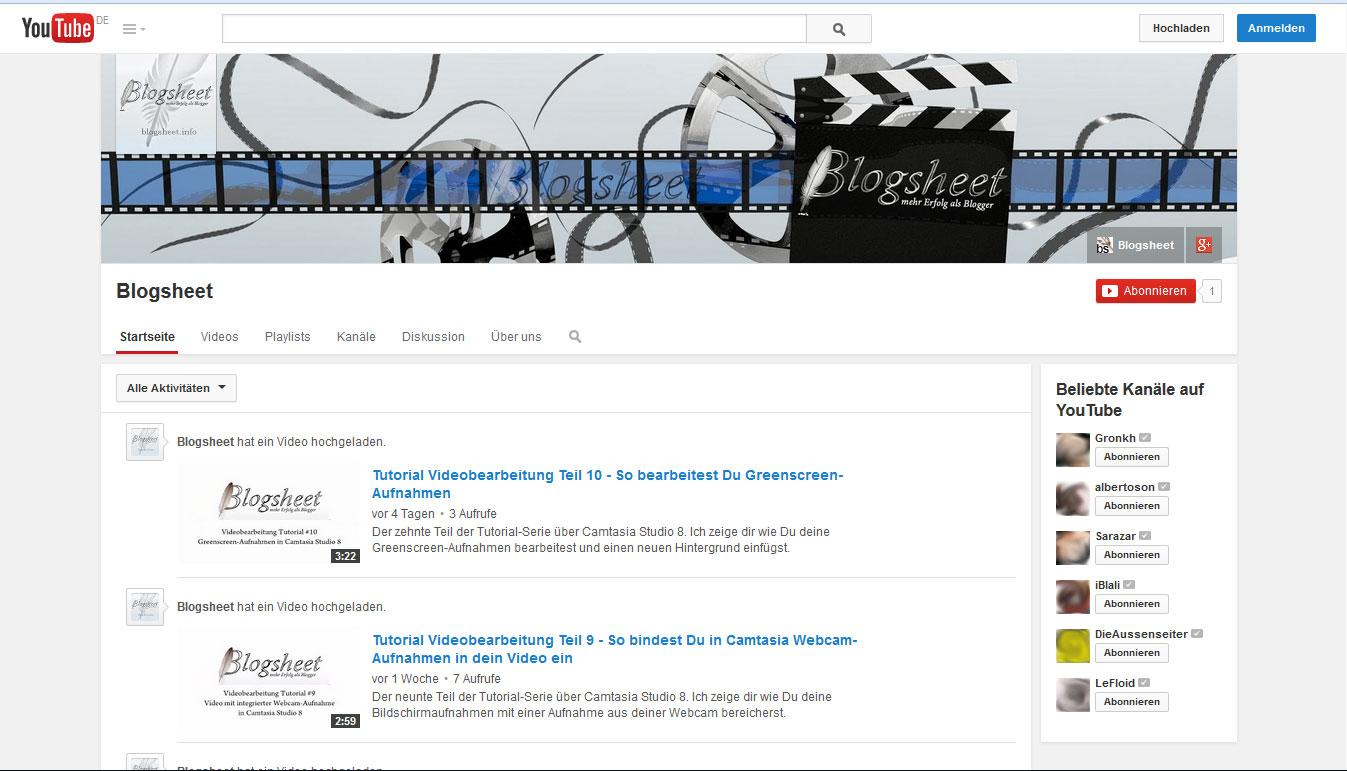 Der Blogsheet-Kanal auf YouTube mit Kanalsymbol und Kanalbild individualisiert