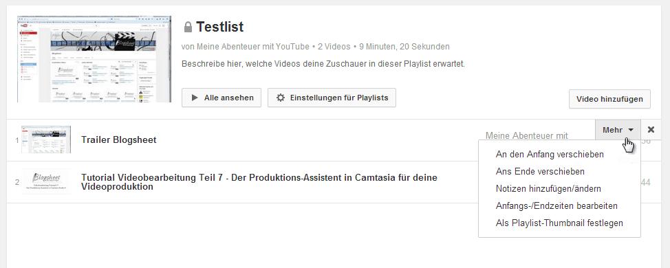 Die Videos in deiner Playlist lassen sich bearbeiten