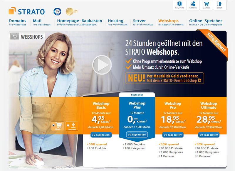 Screenshot der Website zum Webhop Angebot von STRATO