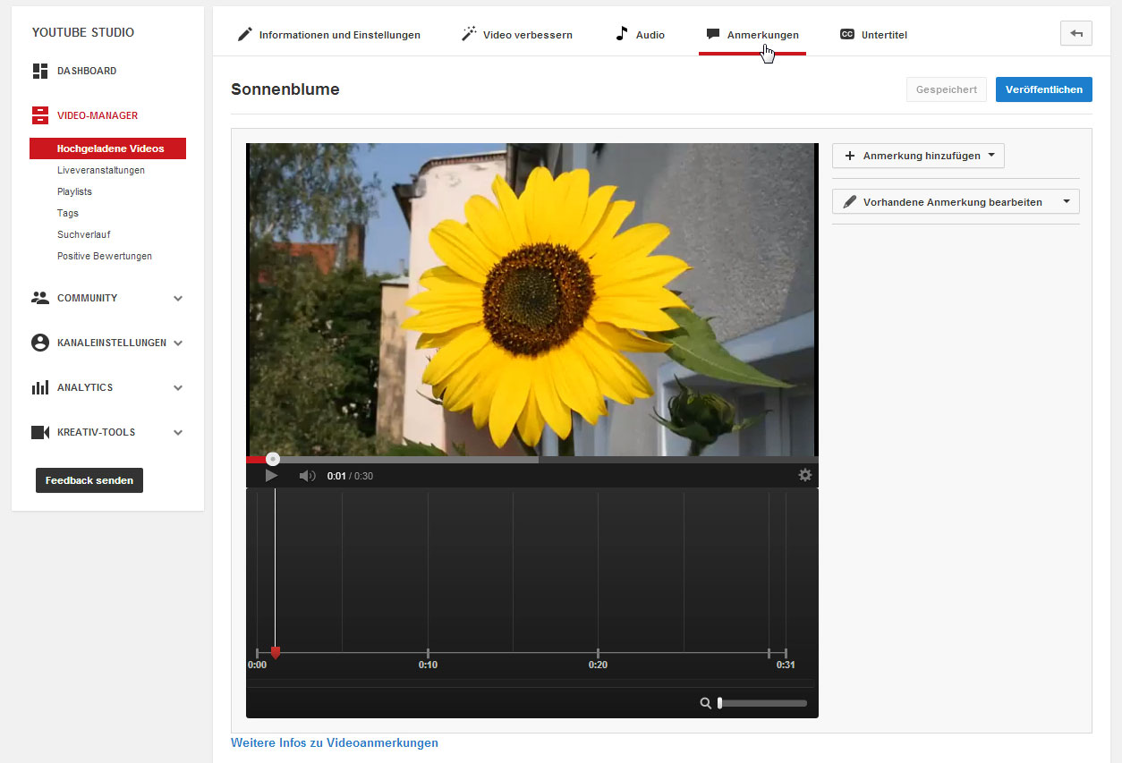Die Anmerkungen im YouTube-Video-Manager