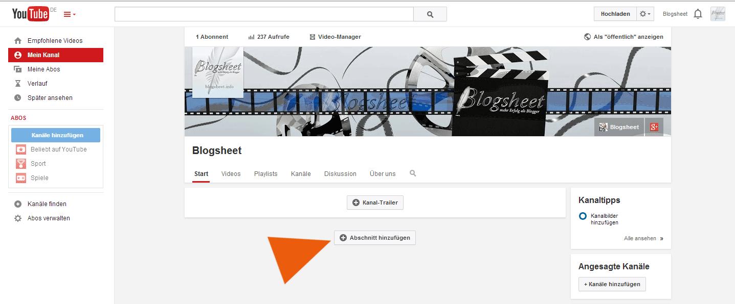 Füge in deinem YouTube-Kanal einen Abschnitt für deine Playlists hinzu