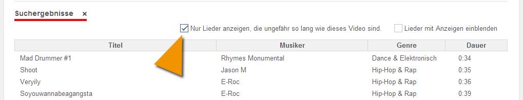 Suche nach YouTube Musik mit einer geeigneten Dauer für dein Video