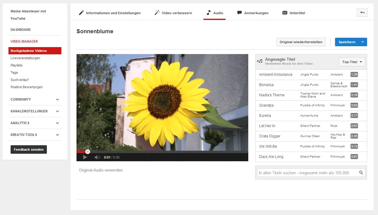 Die kostenlose Musik von YouTube für deine Videos