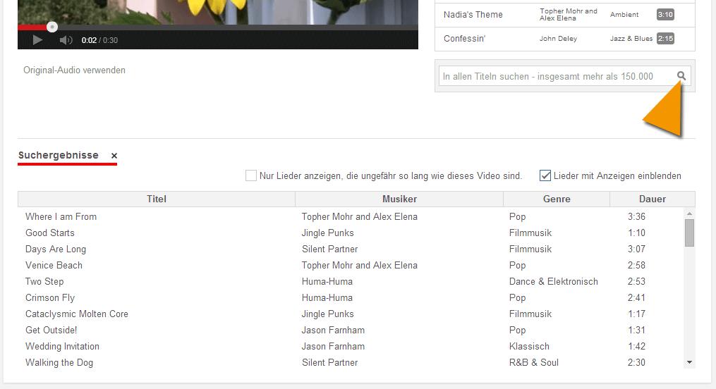 Leichtere Suche nach der richtigen YouTube Musik über die Suchergebnisse