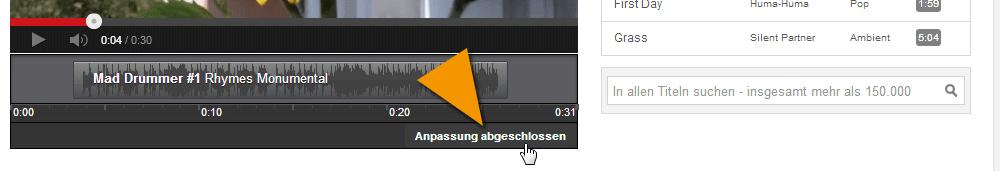 Die Anpassung des YouTube Musiktitels abschließen
