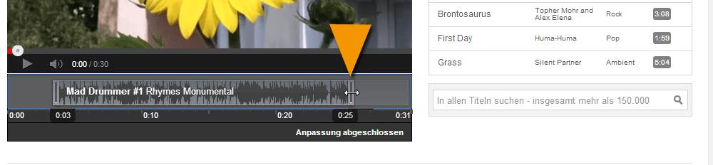 Den YouTube Musiktitel für dein Video schneiden