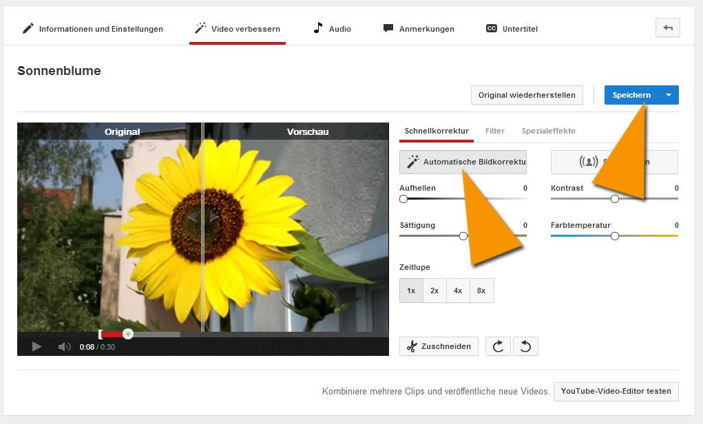 Die automatische Bildkorrektur auf YouTube