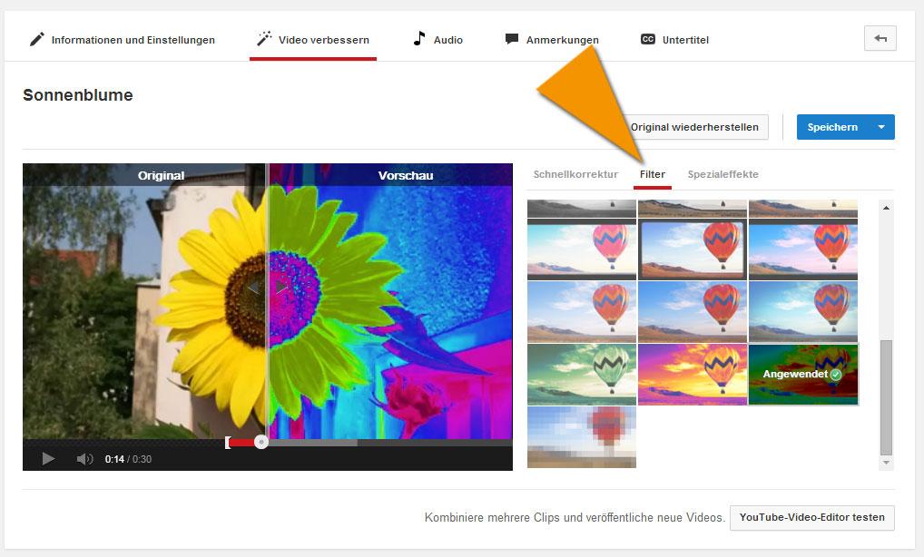 Tolle Effekte mit den Video-Filtern auf YouTube