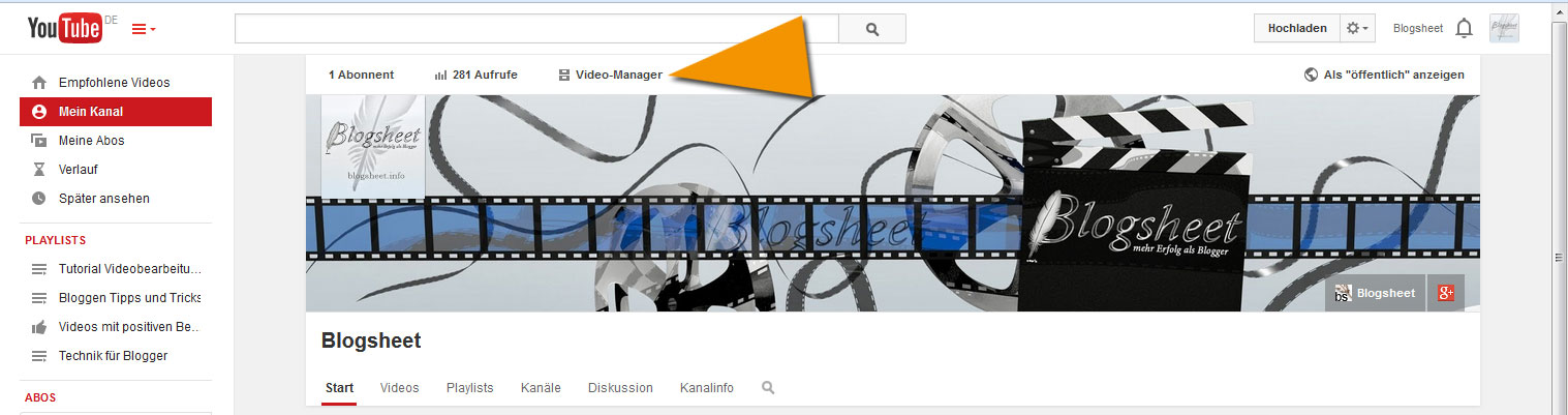 Hier geht es zum YouTube Video-Manager