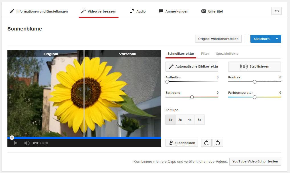 Die Optionen um dein Video auf YouTube zu verbessern