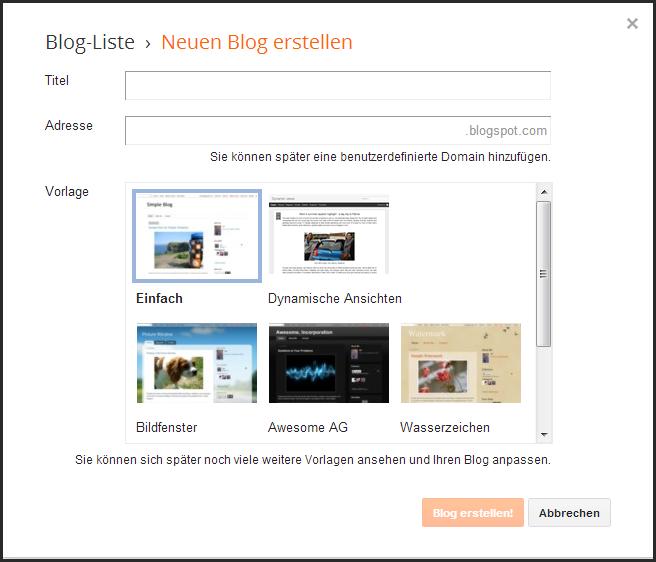 Abbildung 2.3 - Der Schnellstart für deinen Blog