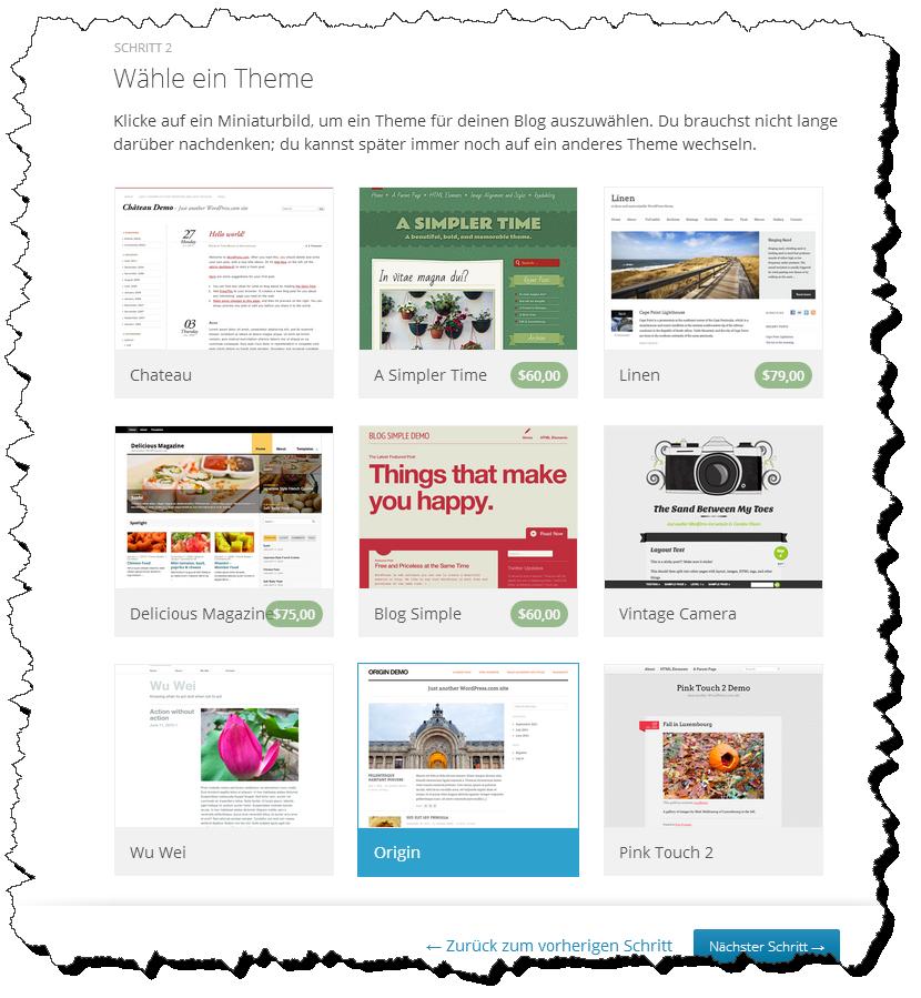 Abbildung 3.5 - Wähle ein kostenloses Blog-Theme aus