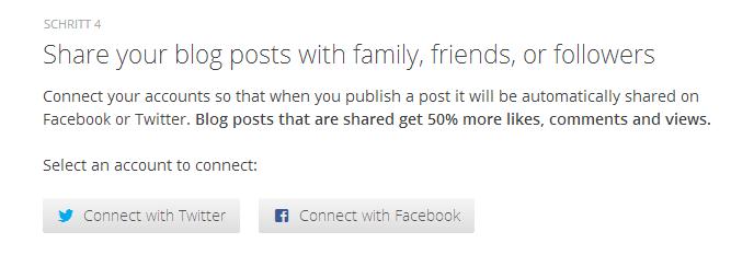 Abbildung 3.6 - Verbinde deinen Blog mit Facebook und Twitter