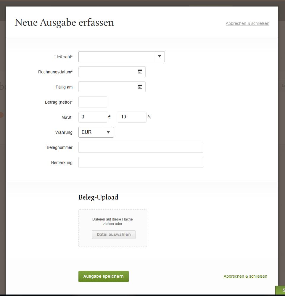 Screenshot der Beleg-Erfassung im Rechnungsprogramm FastBill