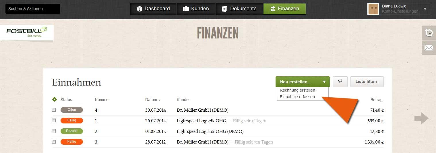 Screenshot Button Einnahme erfassen im Rechnungsprogramm FastBill