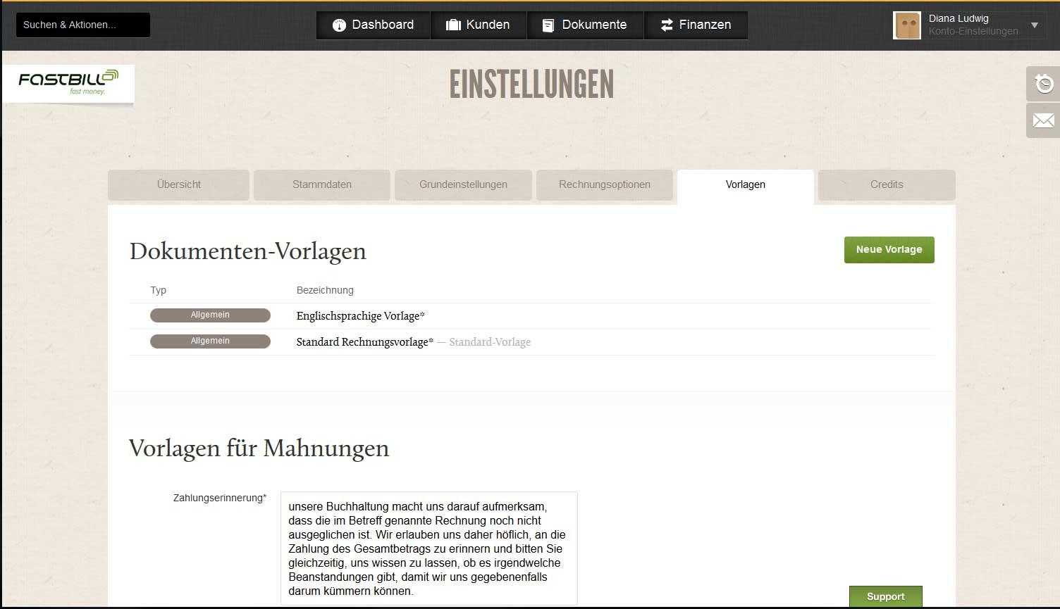 Screenshot der Einstellungen-Seite des Rechnungsprogramms FastBill