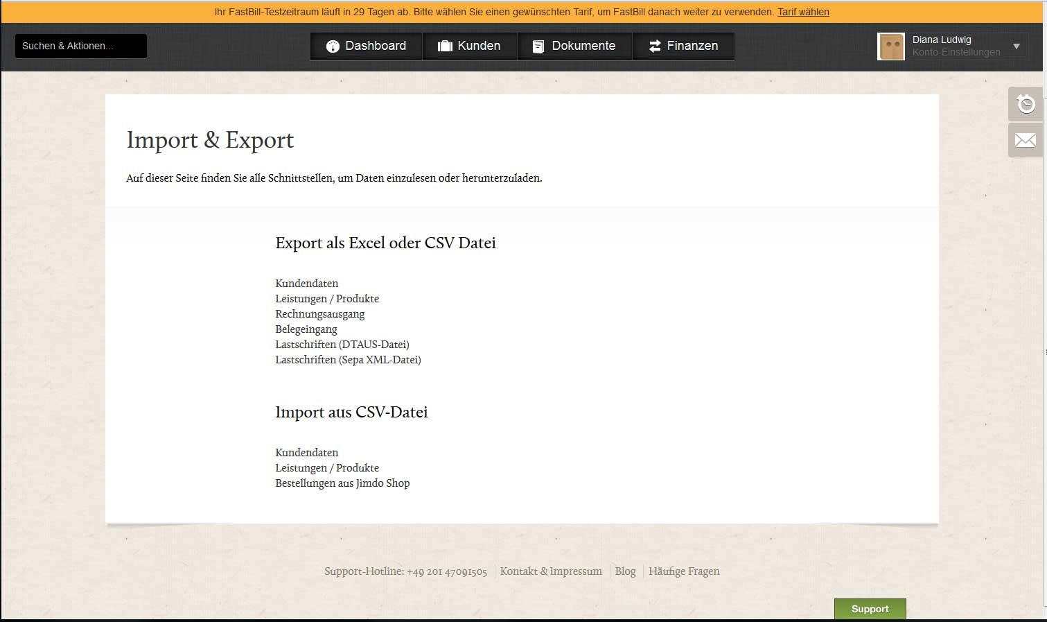 Screenshot der Import & Export Möglicbkeiten im Rechnungsprogramm FastBill