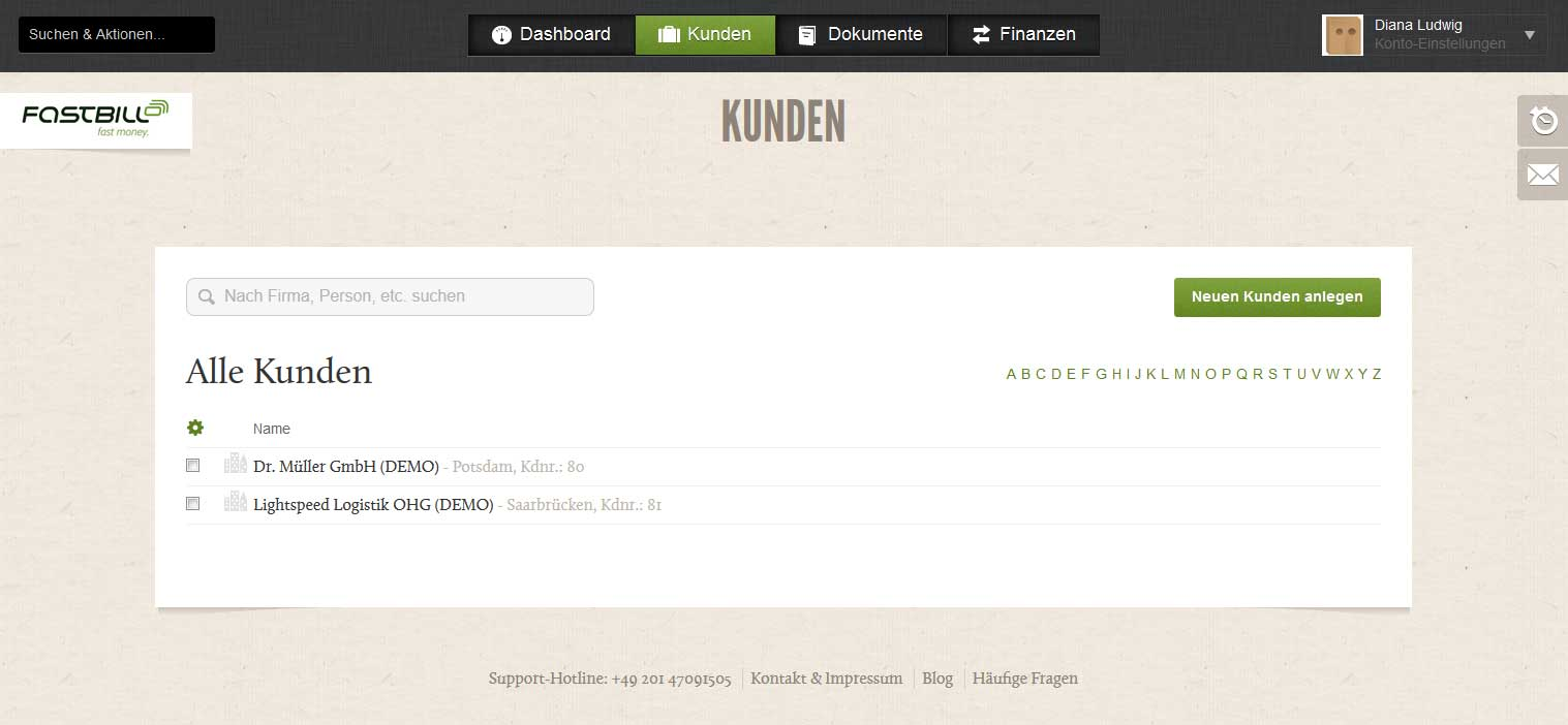 Screenshot der Kunden-Seite des Rechnungsprograsmms FastBill