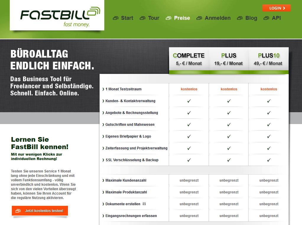 Screenshot der Preise des Rechnungsprogramms FastBill
