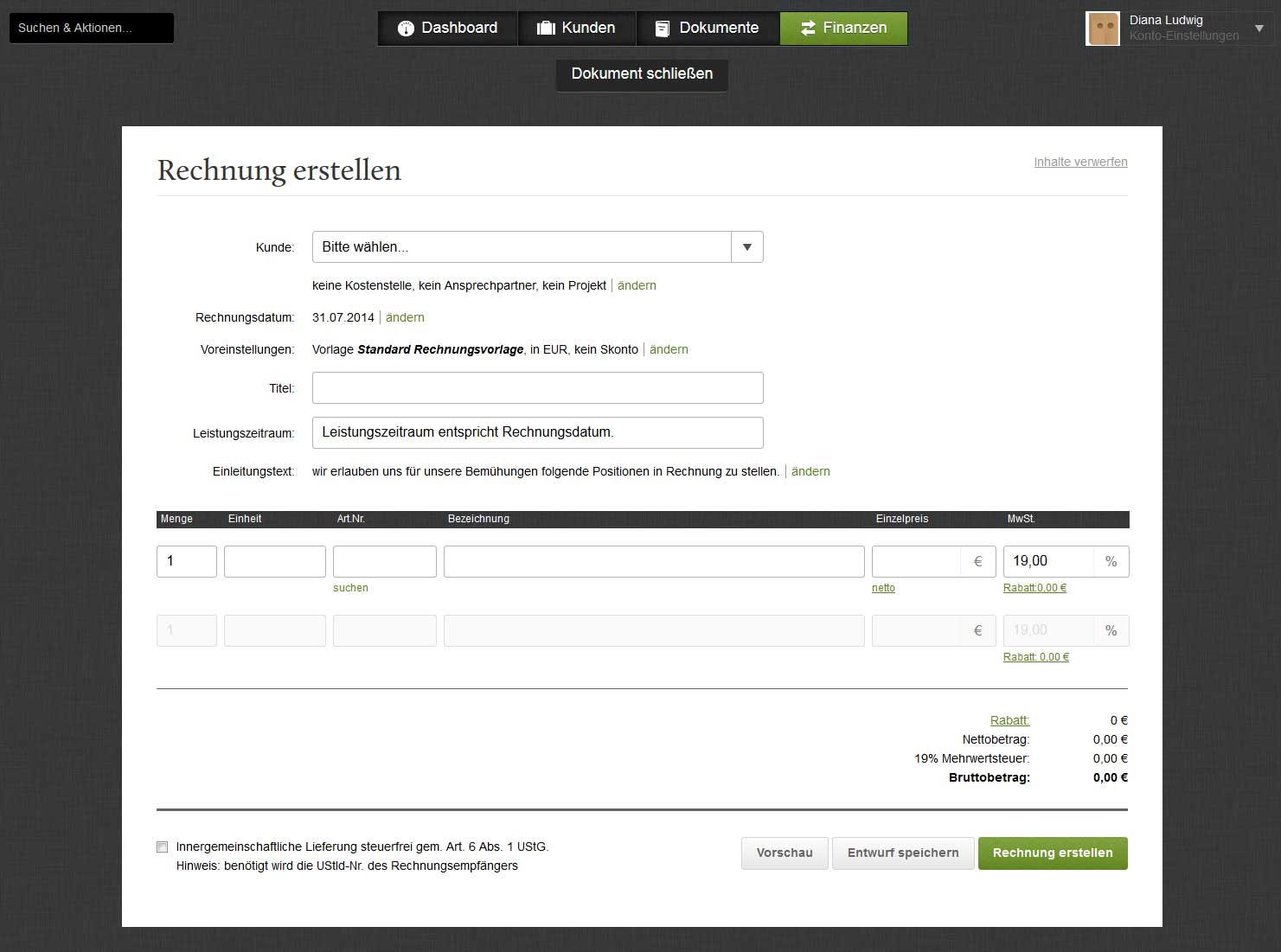 Screenshot der Rechnung erstellen Seite des Rechnungsprogramms FastBill