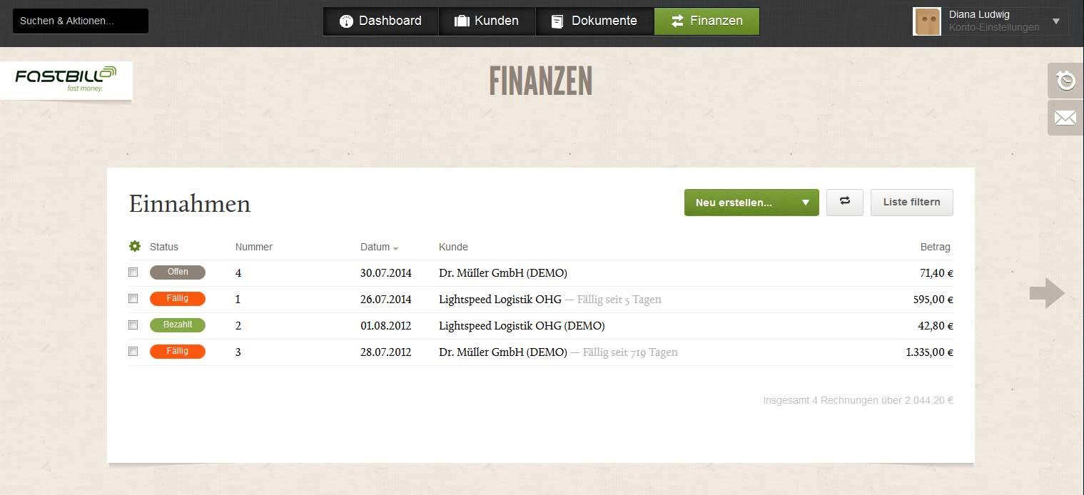 Screenshot der Rechnungen-Liste im Rechnungsprogramm FastBill