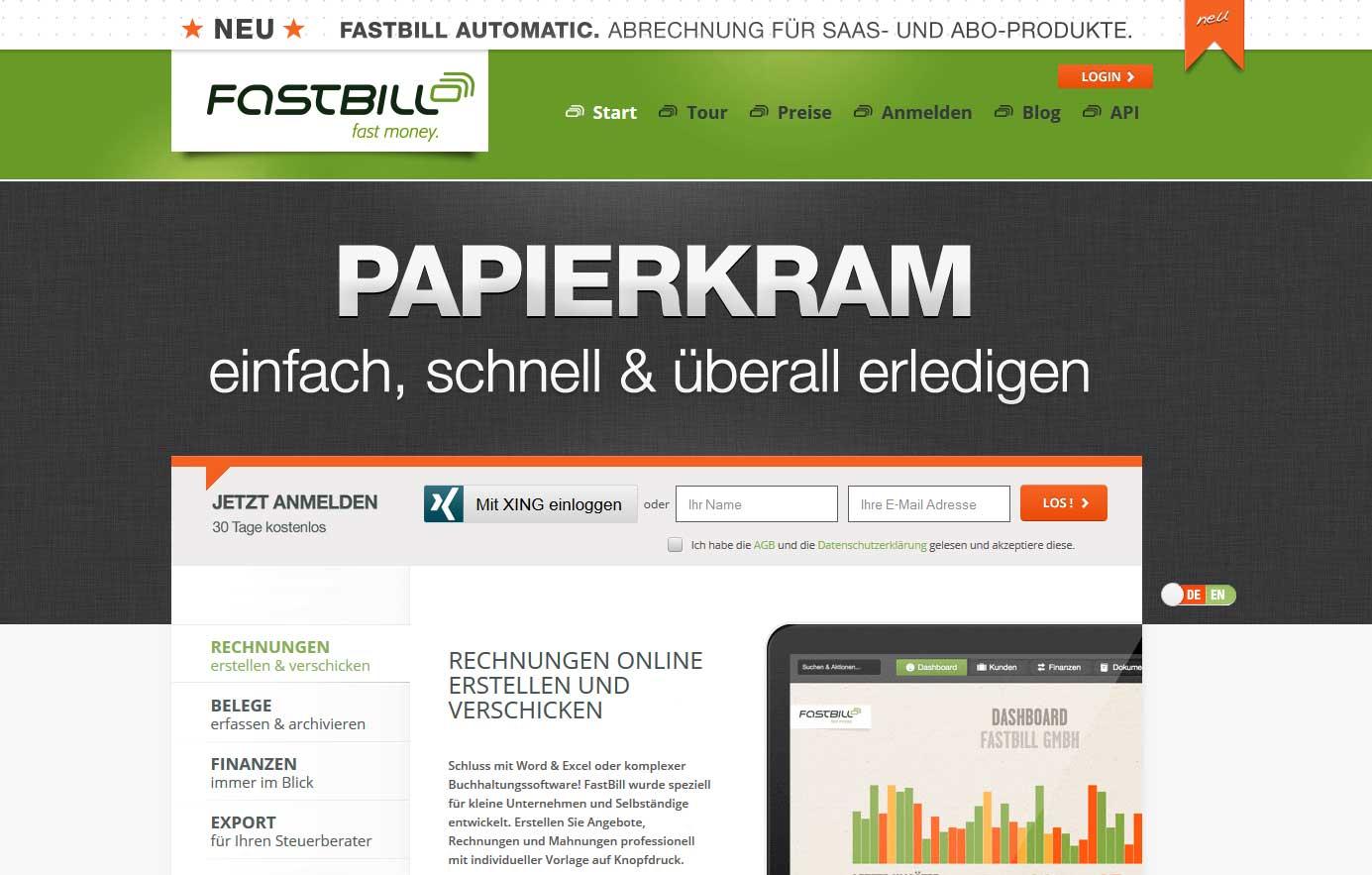 Screenshot der Startseite des Rechnungsprogramms FastBill