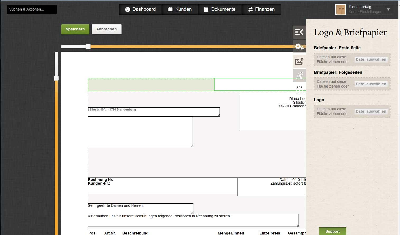 Screenshot des Vorlagen-Editors im Rechnungsprogramm FastBill