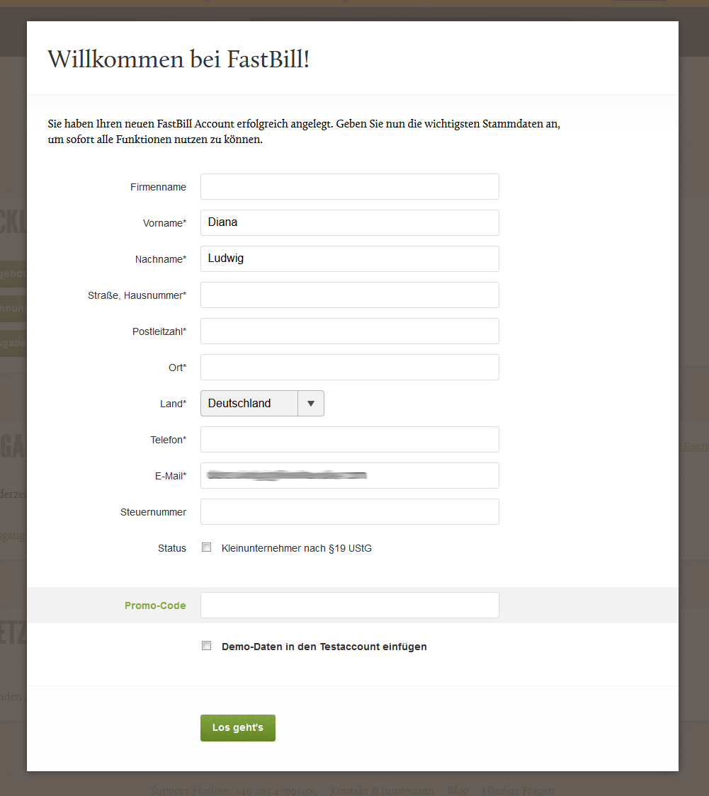 Screenshot der Willkommens-Seite deines FastBill-Accounts