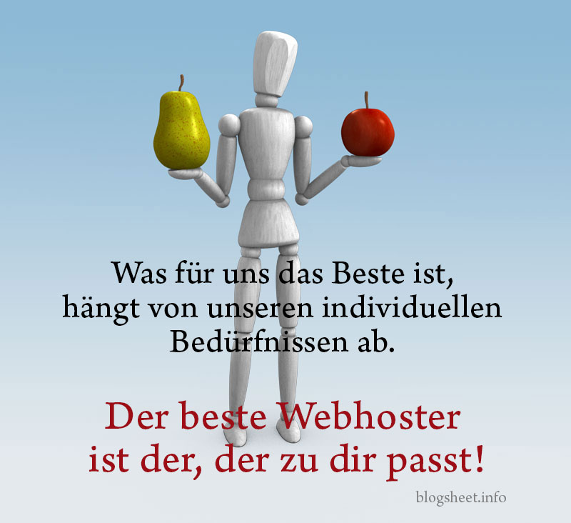 Der beste Webhoster ist der, der zu dir passt