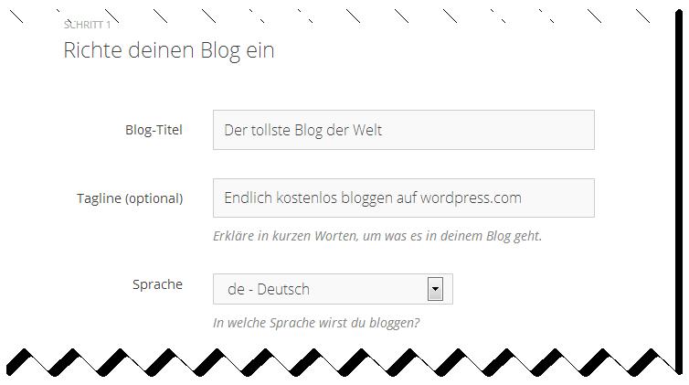 Abbildung 3.4 - Richte deinen kostenlosen Blog ein