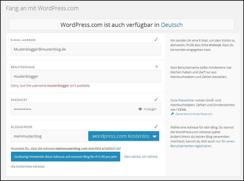 Abbildung 3.5 - Auf wordpress.com registrieren