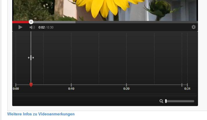 Die Timeline für die Anmerkungen im Video