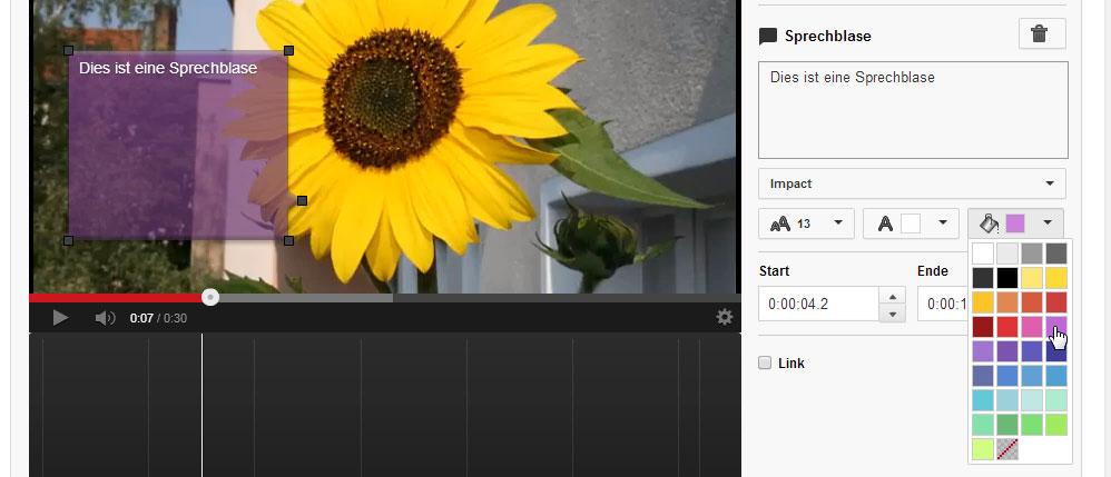 Der Anmerkung auf YouTube eine andere Farbe geben