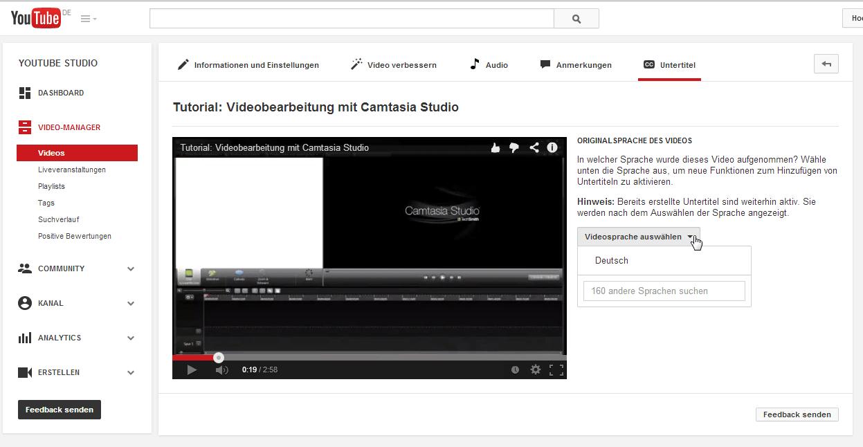 Die Untertitel befinden sich im YouTube Video-Manager
