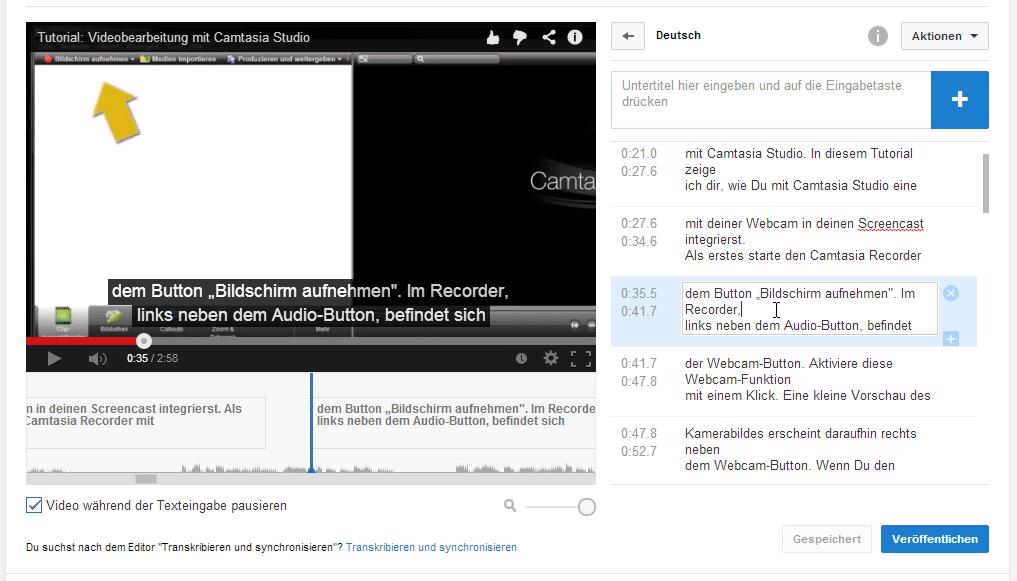 Untertitel-Text bearbeiten