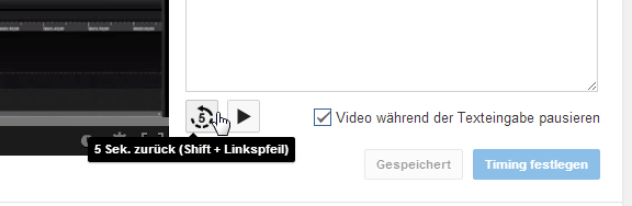 YouTube Untertitel Button Zurück