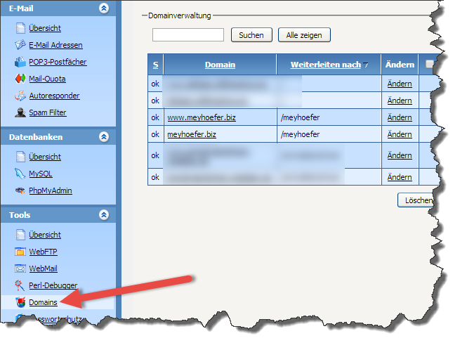 Abbildung 9.2 - Confixx Domaineinstellungen